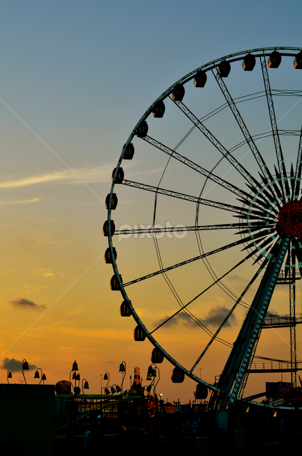 Ferris Wheel by Mauritz Janeke - Landscapes Travel ( ferris, landmark, sunset, global village, landscape,  )