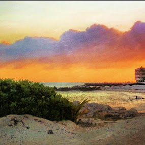 Sunset on Key Colony Beach by Nancy Sadowski - Digital Art Places ( sunset, colors, florida keys, beach, marathon )