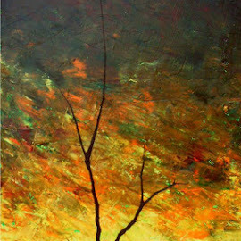 tarde en fuego by Mauricio Silerio - Painting All Painting ( tree, sunset, death, canvas, landscape, oil )