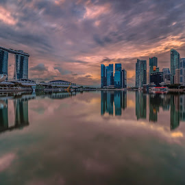 by Gordon Koh - City,  Street & Park  Vistas ( sunrise, panoramic, skyline, clouds, modern, symmetry, nightscape, cityscape, esplanade, park, morning city, no person, reflection, asia, city park, sony a7rii, sony 12-24mm, singapore, shenton, urban, sony 12mm, dawn, modern city, bridge, lake, mbs )