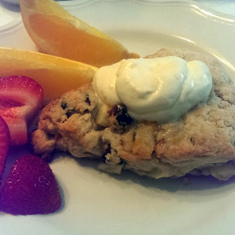 Cranberry, Apple and Walnut Scones with Orange Glaze infused Whipped Cream