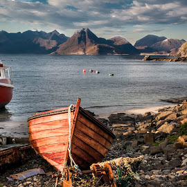 Skye fishing boats by Brian Miller - Transportation Boats ( hills, skye, mountains, boats, harbour, buoys )
