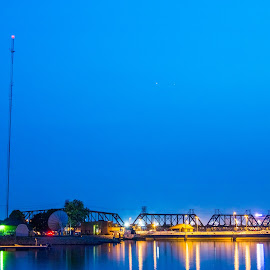 Mississippi by Todd Wallarab - Buildings & Architecture Bridges & Suspended Structures ( lights, water, bride, river, mississippi, swing bridge )
