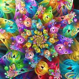 Globe Spiral by Peggi Wolfe - Illustration Abstract & Patterns ( digital, gift, color, wolfepaw, bright, pattern, spiral, abstract, décor, print, unique, fractal, illustration, unusual, fun )