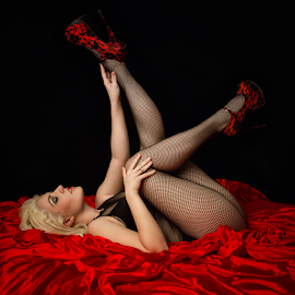 V-day is close... by David Lawrence - Nudes & Boudoir Boudoir ( stockings, silk, sheets, pose, blonde, model, red, fishnet, woman, satin, heels, hair )