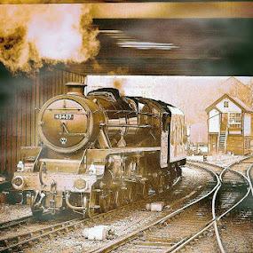 Steam  into  Autumn by Gordon Simpson - Transportation Trains