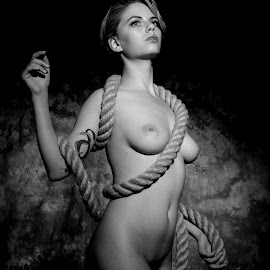 Entanglement by DJ Cockburn - Nudes & Boudoir Artistic Nude ( studio, grayscale, model, art nude, nude, monochrome, rope, black and white, woman, estrany, tattoo, standing )