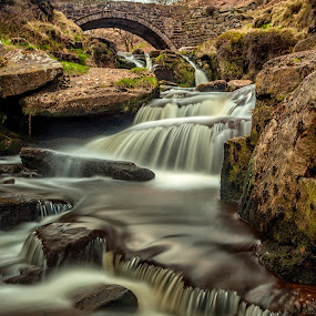 Three Shires Head falls by Andy Young - Landscapes Waterscapes ( three shires head, uk, old bridge, waterfall, landscape, peak district )