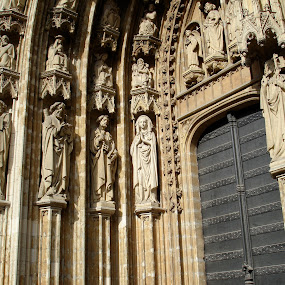 Brussels  by Denise Zimmerman - Buildings & Architecture Architectural Detail ( sculptures, europe, church, buildings, pwcdetails, door, cathedral, architecture )