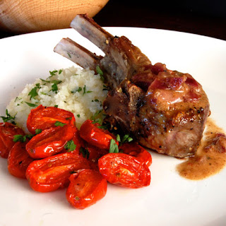 Lamb Chops with Mustard Sauce and Roasted Tomatoes