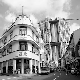 Shop Houses by Koh Chip Whye - Black & White Buildings & Architecture