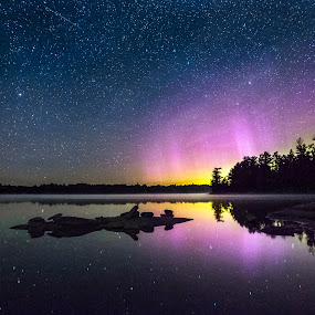 Magical  Summer Night by Trevor Pottelberg - Landscapes Starscapes ( reflection, grundy lake provincial park, t.pottelberg scenics, heaven, silhouette, twilight, ontario scenic photographer, northern lights, meteor, ontario, scenic, astronomy, milky way, northern, constellations, t.pottelberg, ontario landscape photographer, stars, ontario landscapes, northern ontario, summer, night, clear lake )