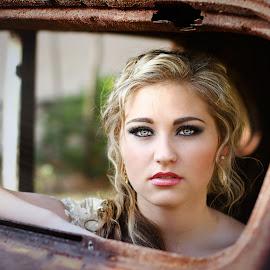 Eyes by Carel Van Vuuren - People Portraits of Women ( car, face, sexy, girl, blue, female, blond, beauty, rust, hair, portrait, profile, eyes )
