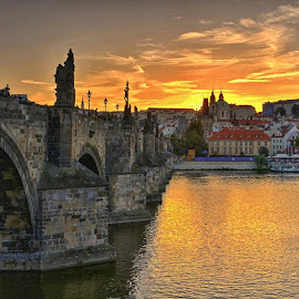 Charles Bridge, Prag by Miloš Kluiber - City,  Street & Park  Historic Districts