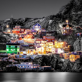 Colours of The Battery by Gordon Follett - Buildings & Architecture Public & Historical ( colour, hill, old, winter, village, black and white, nighttime, snow, st. john's, night, ocean, newfoundand, the battery )