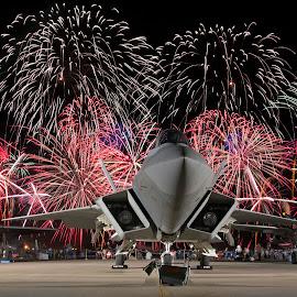 Raptor Fireworks by Patrick Barron - Transportation Airplanes ( p-38, lightning ii, lightning, f-22, oshkosh, eaa, f-35, fireworks, raptor, airventure )