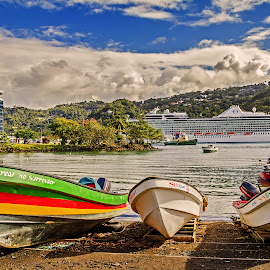 by Graham Mulrooney - Transportation Boats ( water, clouds, hills, structure, seawater, st lucia, ship, cruise ship, boats, harbour, sea, beach, boat, caribbean, st. lucia, west indies, castries, colourful, fishing boats, horizontal, trees,  )