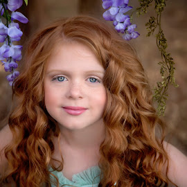 Taylee by Carole Brown - Babies & Children Child Portraits ( red hair, gorgeous, pink lips, blue eyes, flowers )