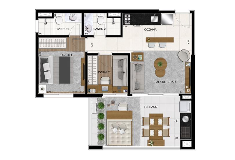 Planta Opção Final 1 - 63 m²