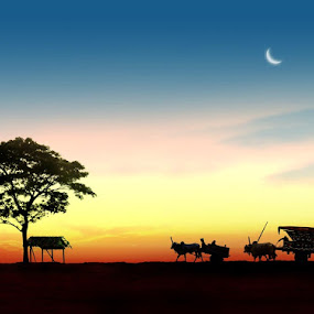 sunset serenity by Budi Cc-line - Landscapes Travel ( sunset, shiluette, transportation )