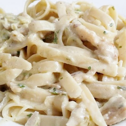 Homemade Pasta in white sauce and chicken