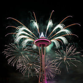 Space Needle NYE 2016 by Gabriel Gutierrez - Public Holidays New Year's Eve ( space needle, fireworks, nye, celebration, travel )