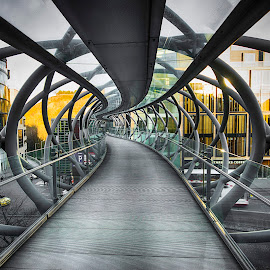 Bendy Bridge Wide Angle by Don Alexander Lumsden - Buildings & Architecture Bridges & Suspended Structures