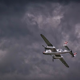 Farewell B-25 by Pat Lasley - Transportation Airplanes ( clouds, plane, airplane, b-25, airshow )