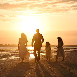 Bride, Groom and flower Girls by Andrew Morgan - Wedding Groups ( zanzibar, silhouette, sunset, wedding, flowergirls, beach, bride, groom )