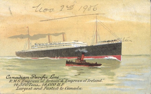 "'Canadian Pacific Steamship Lines, RMS Empress of Britain & Empress of Ireland"", c1906, postcard."