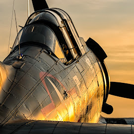 Dauntless at Dusk by Chris Buff - Transportation Airplanes ( wwii, aeronautics, north, photography, flying, aviation, over, wings, bomber, aviationbuff, 2012, chris, cbuff@charter.net, aerospace, dauntless, twilight, sbd, dive, georgia, hour, www.aviationbuff.com, dusk, flight, warbird, fly, rome, sunset, aircraft, buff, sunrise, golden, airshow )