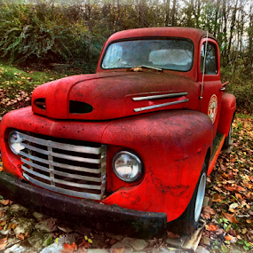 Old Texaco Truck by Julie Dant - Transportation Automobiles ( antique truck, truck, red truck, old truck, antique, texaco truck )