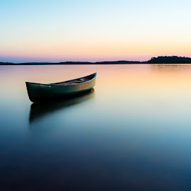 Peaceful Lake Russell by Tom Moors - Transportation Boats ( calm, peaceful, peace, canoe, lake, lake canoe russell, calhoun state park, south carolina )
