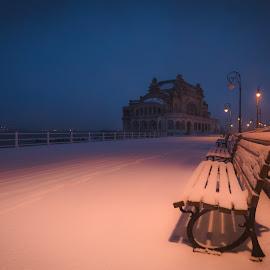 frozen twilight by Lupu Radu - City,  Street & Park  City Parks ( bench, twilight, frozen, morning, lights, black sea, sky, winter, cold, snow, cazinoul din constanta, casino, constanta, crepuscul )