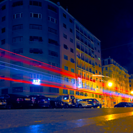 by Felice Bellini - City,  Street & Park  Street Scenes ( nighttime in the city, night life, park at night, street at night, night, genoa, genova, parking at night, city at night, italy, nightlife, city )