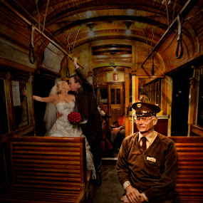 Bride and groom in the old train by Kira Likhterova - Wedding Other