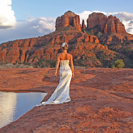Quiet Contemplation by Gary Kaylor - Wedding Bride ( reflection, desert, wedding, bride, landscape, rocks, best female portraiture )