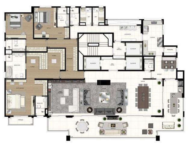 Planta 3 Suítes - 400 m²