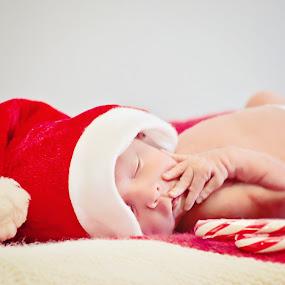 Santa Baby by Karissa Best - Babies & Children Babies ( hq, edit, christmas, candycanes, portrait, newborn, photography, santa, background, baby, stunning, premature, photoshop,  )