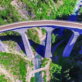 Landwasser Viaduct by Micha Mettier - Buildings & Architecture Bridges & Suspended Structures ( bird view, railway, albula, viaduct, switzerland, rhb, architecture, curved, landscape, unesco )
