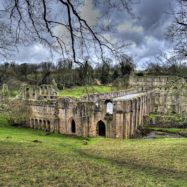fountains abbey, national trust, north yorkshire, england by Keith's Captures - Buildings & Architecture Public & Historical ( clouds, full frame, uk, beautiful, architecture, landscape, photography, fountains abbey, harrogate, history, north yorkshire, england, sky, d750, wide angle, architectural, trees, national trust, nikon, ripon, tripod, aldfield )