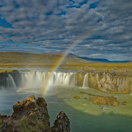 Rainbow above Godafoss, Iceland by Michaela Firešová - Landscapes Waterscapes ( iceland, waterfall, landscape, rainbow )