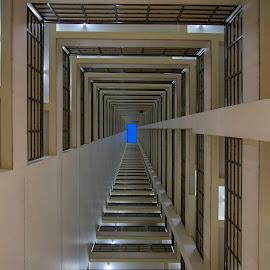 Matrix by Carol Kheng - Buildings & Architecture Architectural Detail ( #rectangle, #geometrics, #bluehour, #sky )