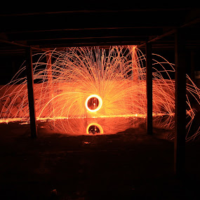 Ring of fire by Graeme Garton - Abstract Light Painting ( light painting, wire wool, sparks, warehouse, fire, abandoned )