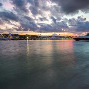 Cloudy Sunrise on Destin Harbor by Sarah Noonan - Landscapes Waterscapes ( destin florida, destin harbor, boats, long exposure, destin boardwalk, destin )