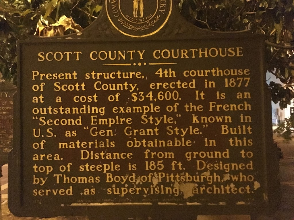 "SCOTT COUNTY COURTHOUSE   Present structure, 4th courthouse of Scott County, erected in 1877 at a cost of $34,600.  It is an outstanding example of the French ""Second Empire Style,"" known in U.S. as ..."