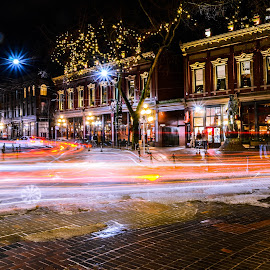 Gastown Light Trails by Cory Bohnenkamp - City,  Street & Park  Night ( street, gastown, light trails, night, long exposure, road, vancouver, city )