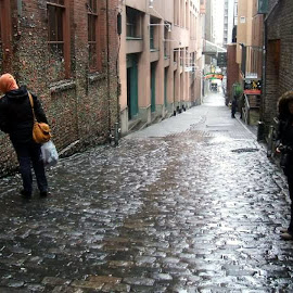 Bubble Gum Alley by Jacque Raines - City,  Street & Park  Street Scenes ( seattle alley bubble gum washington rainy day urban street )