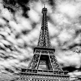 Eiffel Tower by Pravine Chester - Buildings & Architecture Statues & Monuments ( eiffel tower, tower, building, monochrome, black and white, architecture )