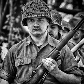 by Marco Bertamé - Black & White Portraits & People ( gi, soldier, helmet, metal, military, portait, man, rifle )